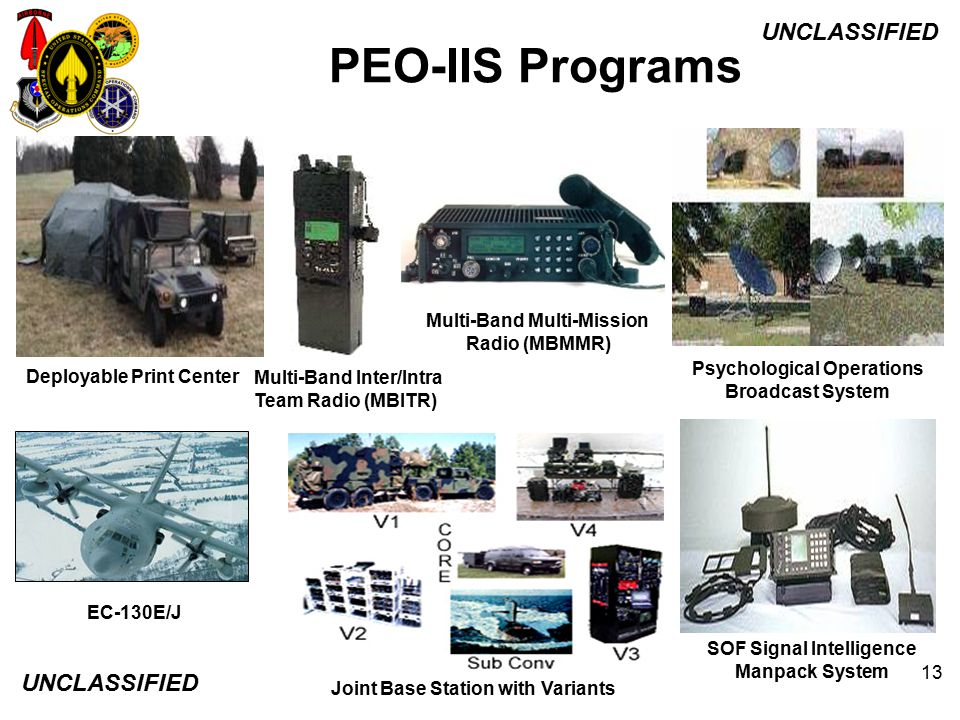 PEO-IIS Programs Multi-Band Multi-Mission. Radio (MBMMR) Psychological Operations Broadcast System.