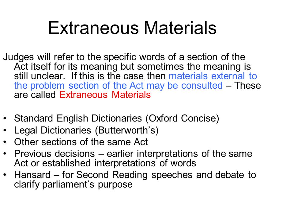 Extraneous Materials