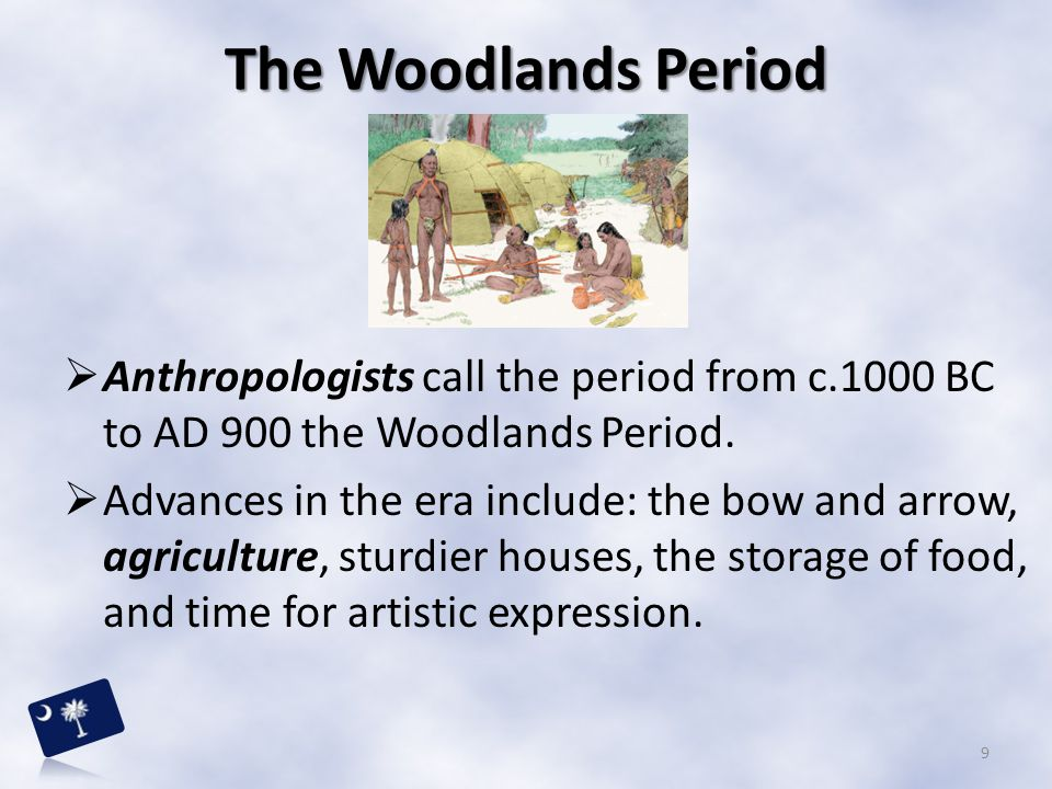 The Woodlands Period Anthropologists call the period from c.1000 BC to AD 900 the Woodlands Period.