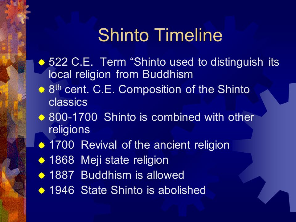 Shinto Timeline 522 C.E. Term Shinto used to distinguish its local religion from Buddhism. 8th cent. C.E. Composition of the Shinto classics.