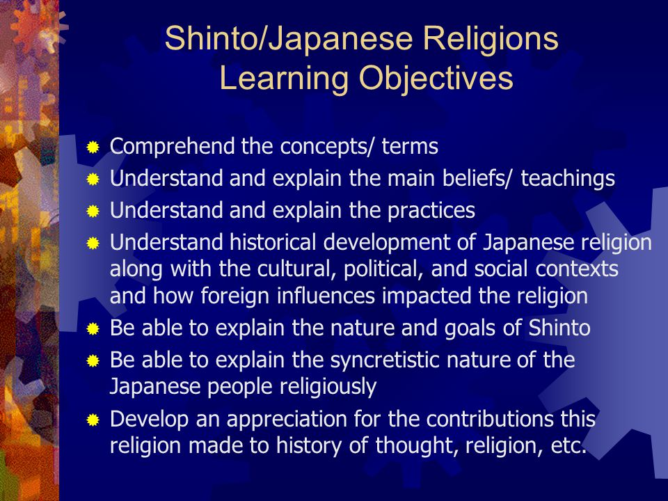 Shinto/Japanese Religions Learning Objectives