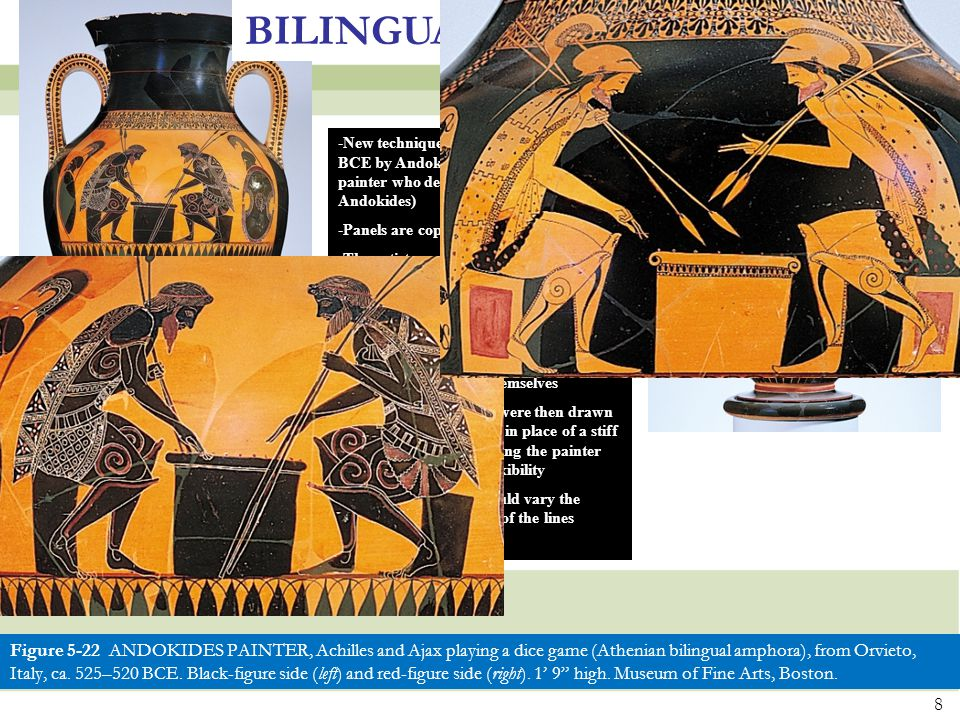 BILINGUAL PAINTING New technique invented around 530 BCE by Andokides Painter (anonymous painter who decorated pottery by Andokides)