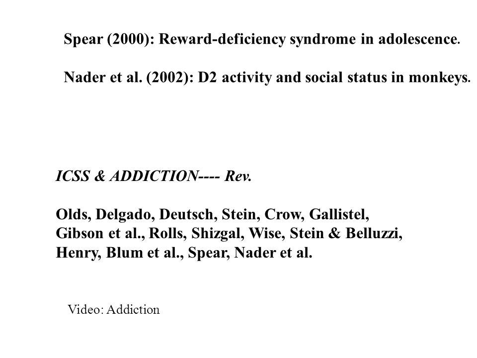 Spear (2000): Reward-deficiency syndrome in adolescence.