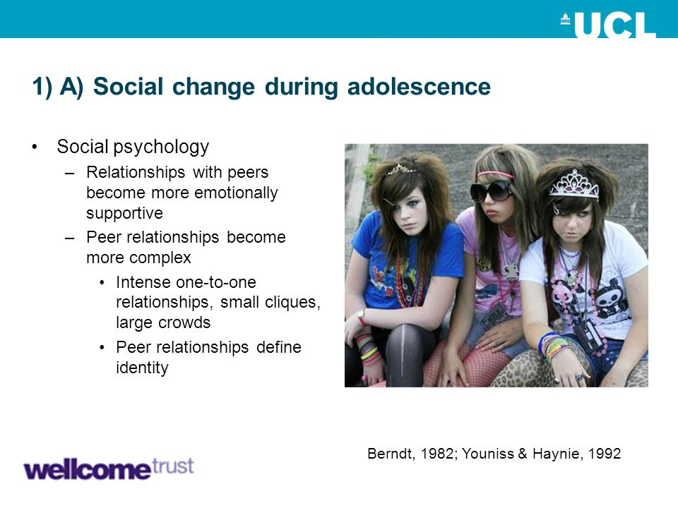 1) A) Social change during adolescence