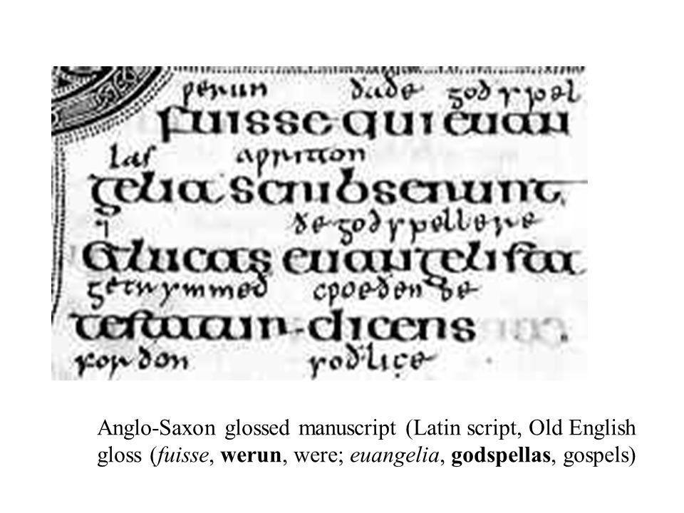 Anglo-Saxon glossed manuscript (Latin script, Old English