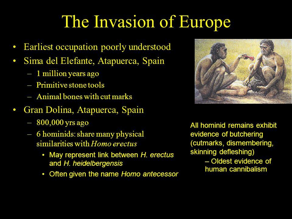 The Invasion of Europe Earliest occupation poorly understood