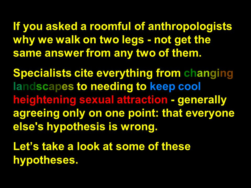 If you asked a roomful of anthropologists why we walk on two legs - not get the same answer from any two of them.