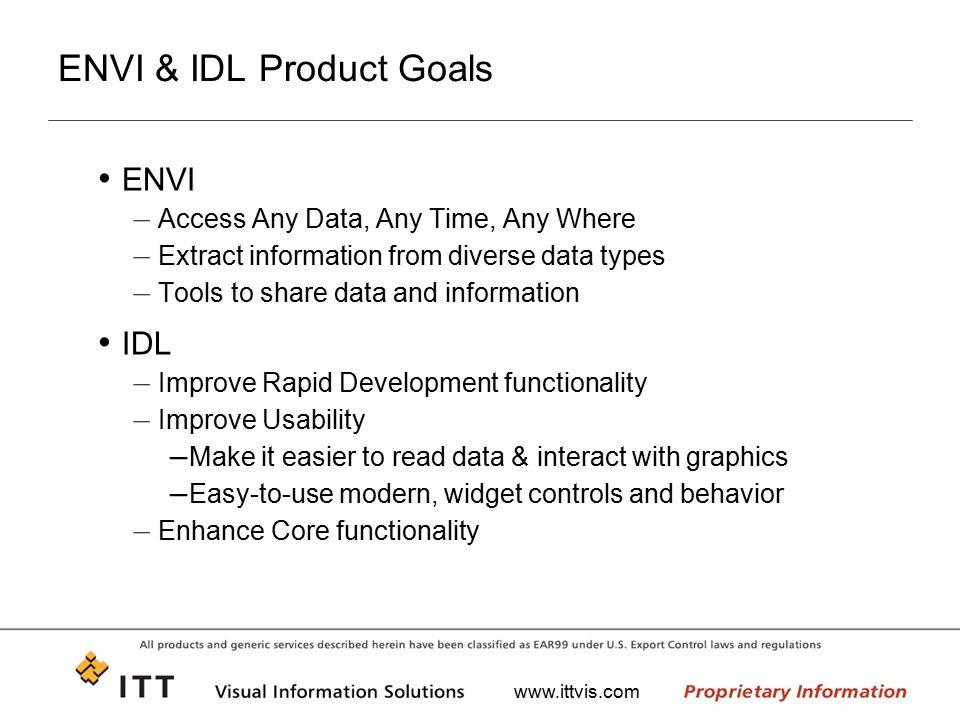 ENVI & IDL Product Goals