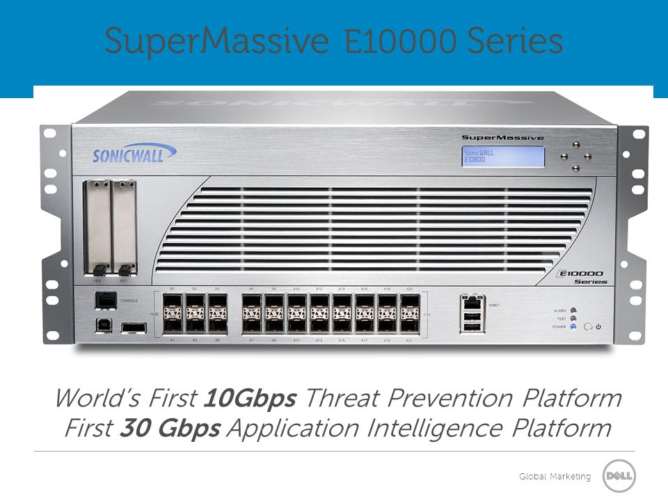 SuperMassive E10000 Series World's First 10Gbps Threat Prevention Platform First 30 Gbps Application Intelligence Platform