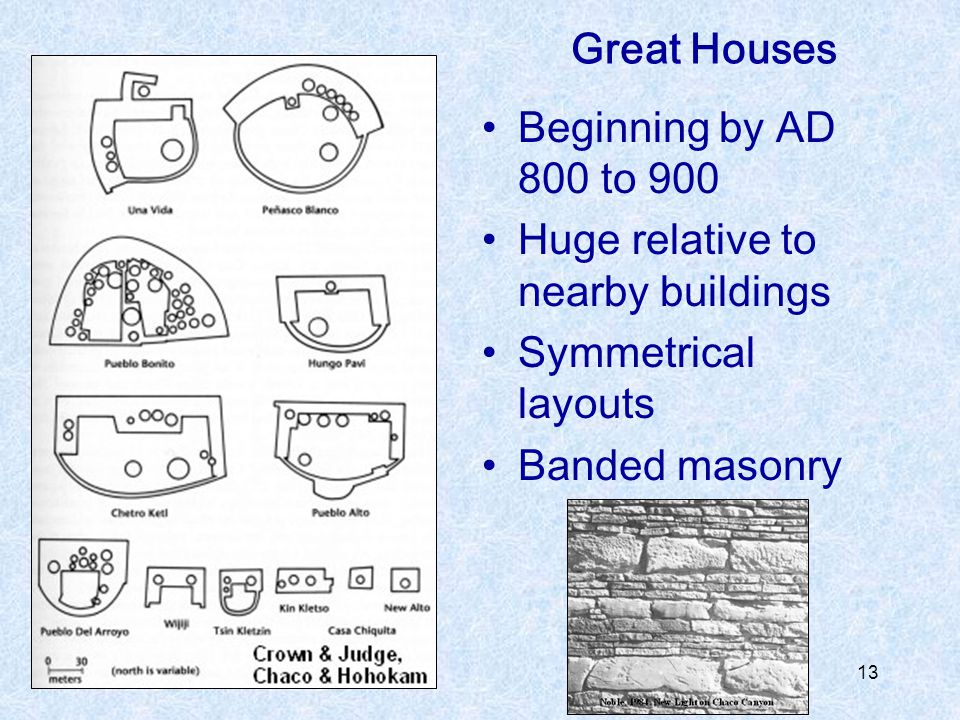 Great Houses Beginning by AD 800 to 900. Huge relative to nearby buildings.