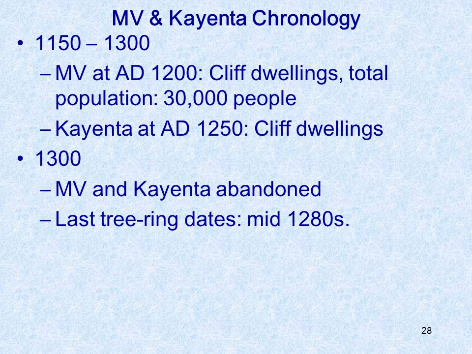 MV & Kayenta Chronology
