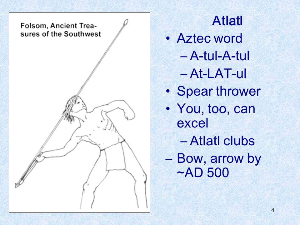 Atlatl Aztec word. A-tul-A-tul. At-LAT-ul. Spear thrower.