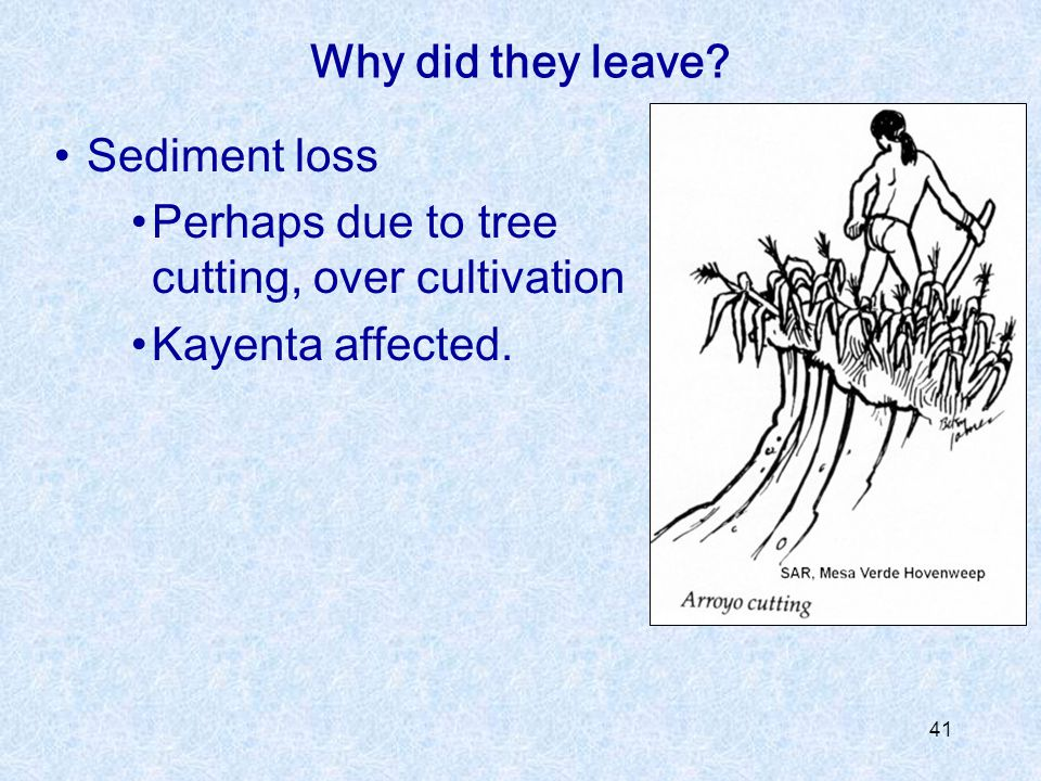 Why did they leave Sediment loss Perhaps due to tree cutting, over cultivation Kayenta affected.