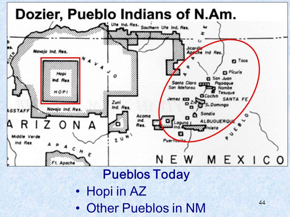 Pueblos Today Hopi in AZ Other Pueblos in NM