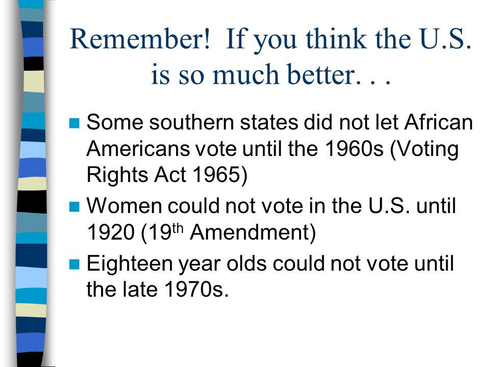 Remember! If you think the U.S. is so much better. . .