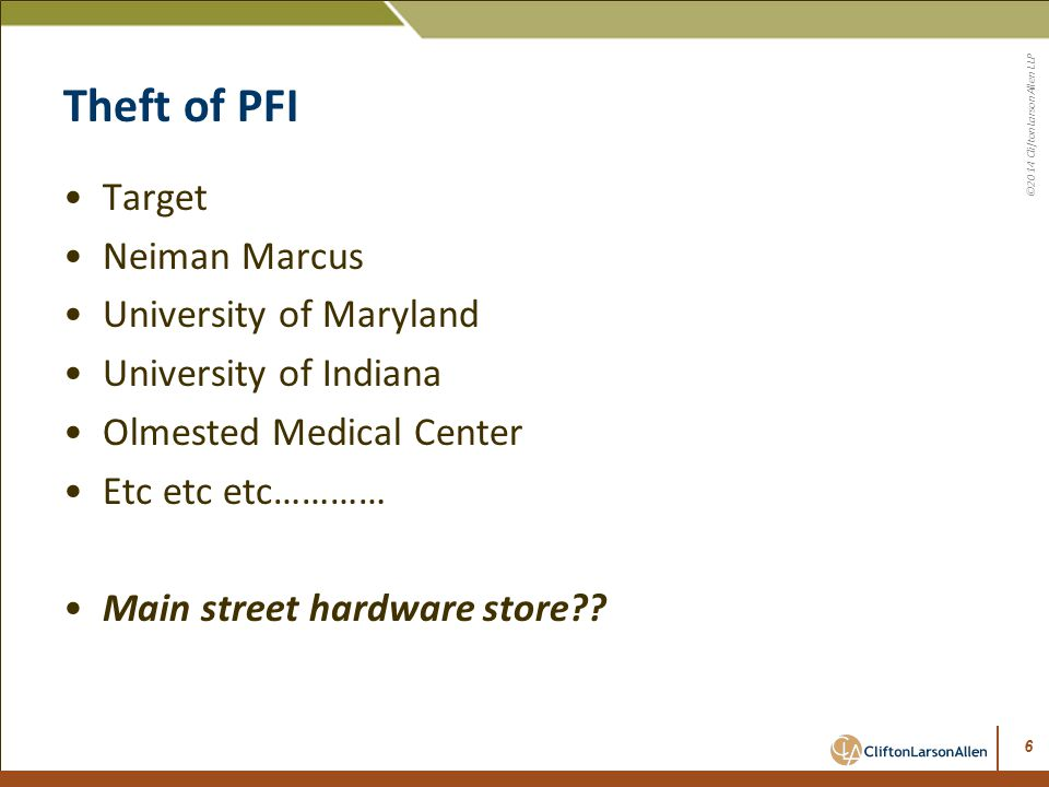 Theft of PFI Target Neiman Marcus University of Maryland
