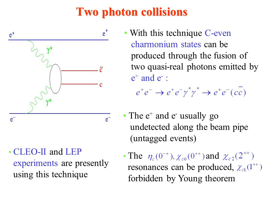 Two photon collisions With this technique C-even