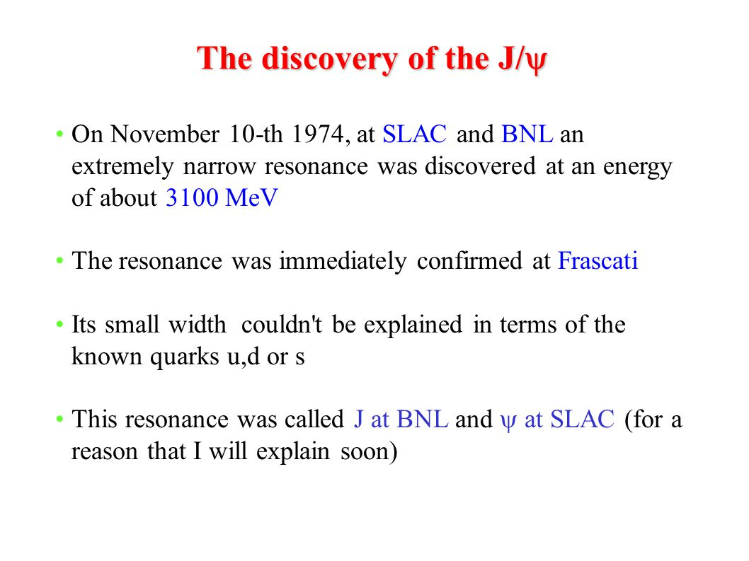 The discovery of the J/y