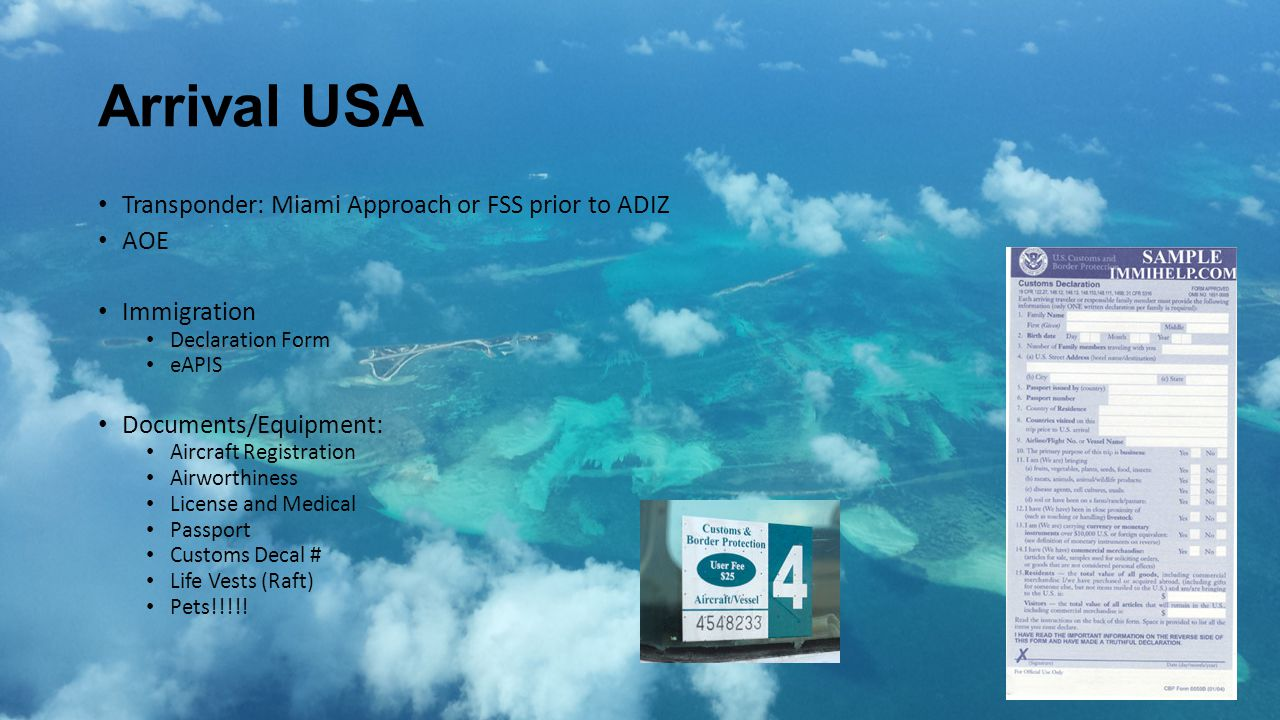 Arrival USA Transponder: Miami Approach or FSS prior to ADIZ AOE