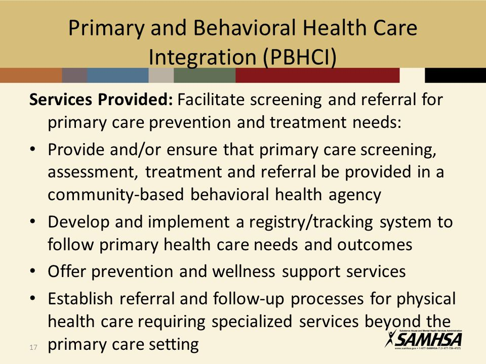 Primary and Behavioral Health Care Integration (PBHCI)
