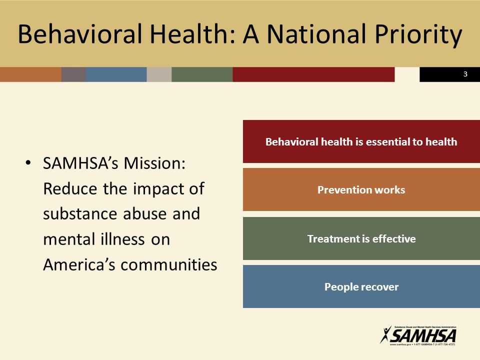 Behavioral Health: A National Priority