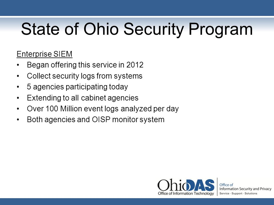 State of Ohio Security Program