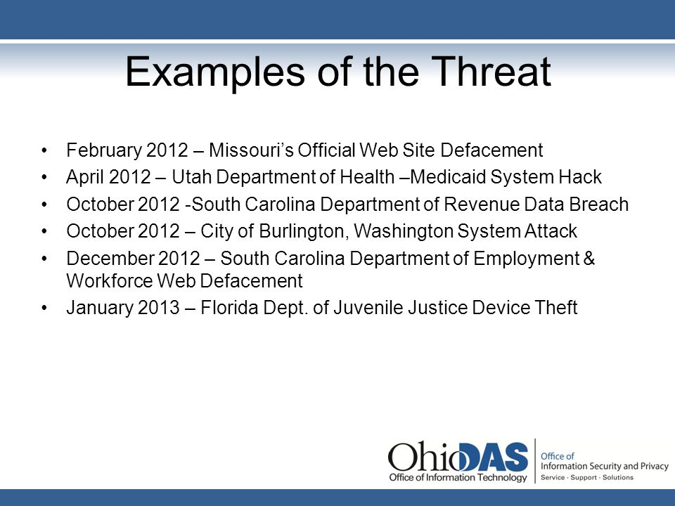 Examples of the Threat February 2012 – Missouri's Official Web Site Defacement. April 2012 – Utah Department of Health –Medicaid System Hack.