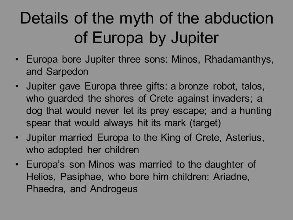 Details of the myth of the abduction of Europa by Jupiter