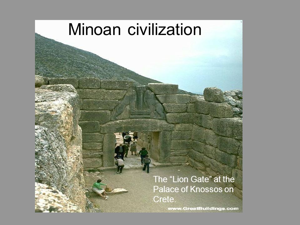 Minoan civilization The Lion Gate at the Palace of Knossos on Crete.