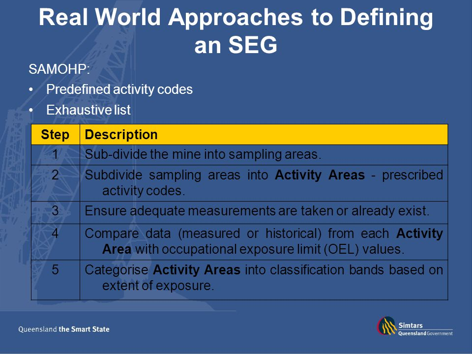 Real World Approaches to Defining an SEG