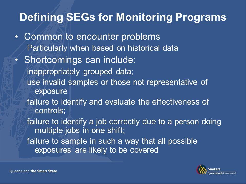 Defining SEGs for Monitoring Programs