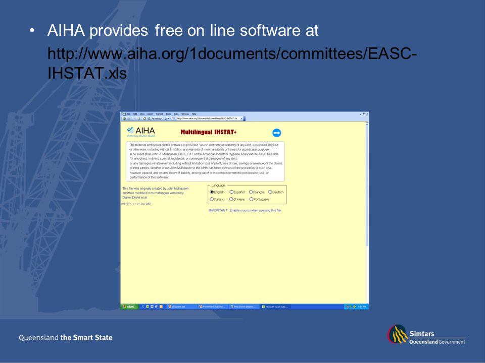 AIHA provides free on line software at