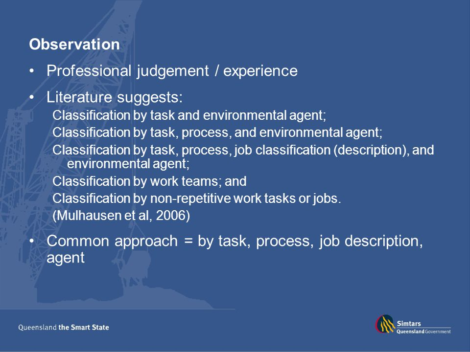 Professional judgement / experience Literature suggests:
