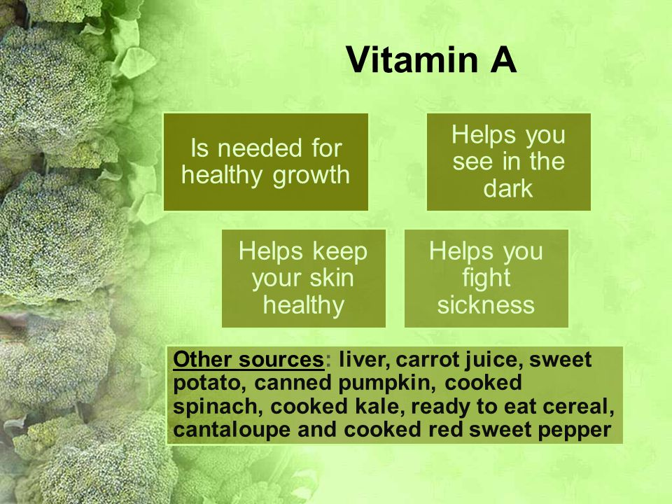 Vitamin A Is needed for healthy growth Helps you see in the dark