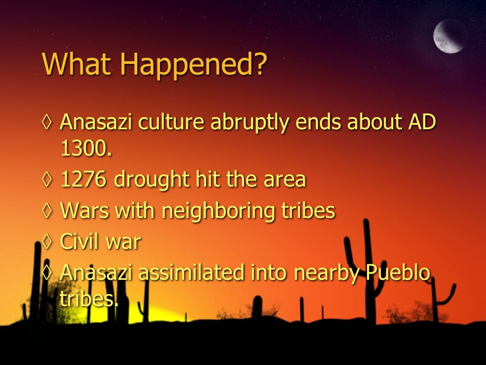 What Happened Anasazi culture abruptly ends about AD 1300.