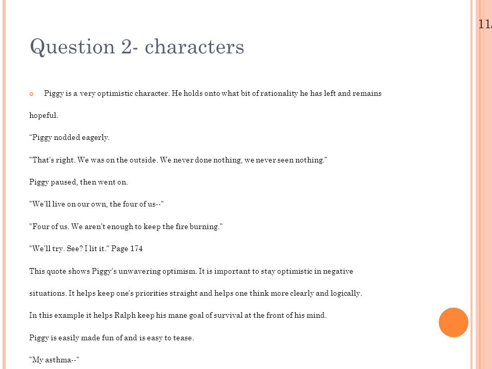 Question 2- characters 11/25/11