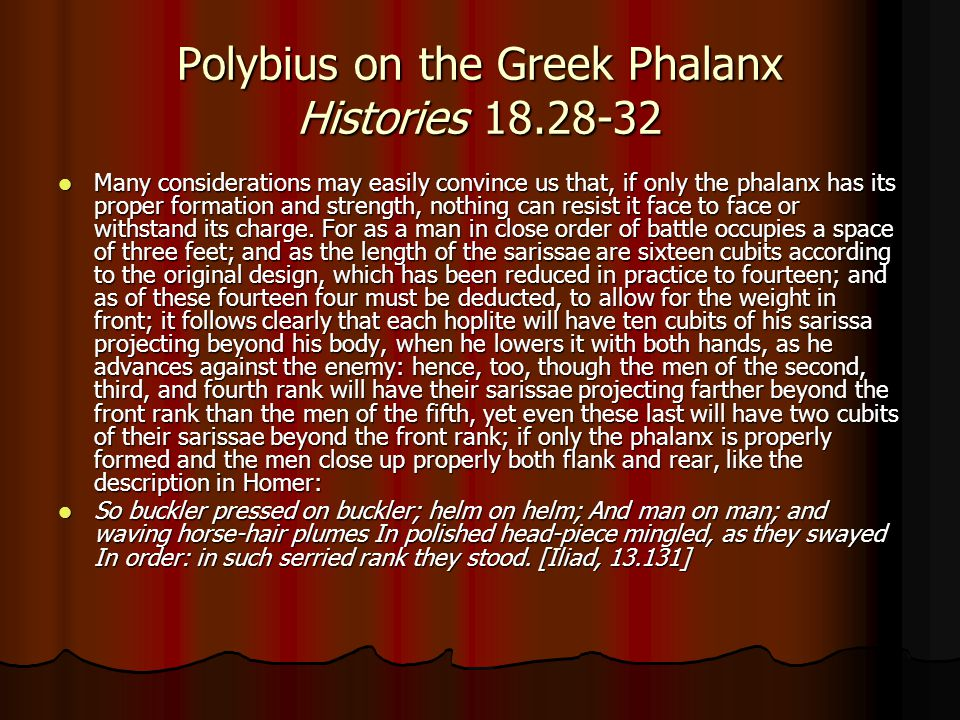 Polybius on the Greek Phalanx Histories 18.28-32