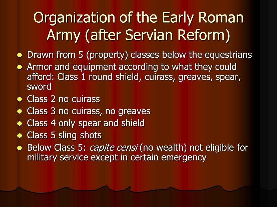 Organization of the Early Roman Army (after Servian Reform)
