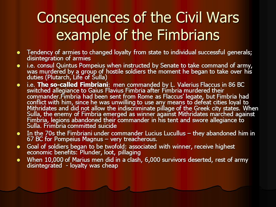 Consequences of the Civil Wars example of the Fimbrians