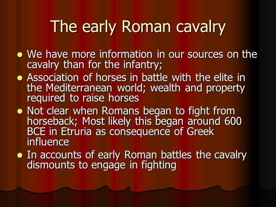 The early Roman cavalry