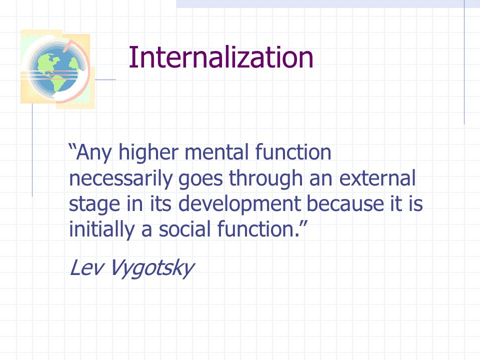 Internalization Any higher mental function necessarily goes through an external stage in its development because it is initially a social function.