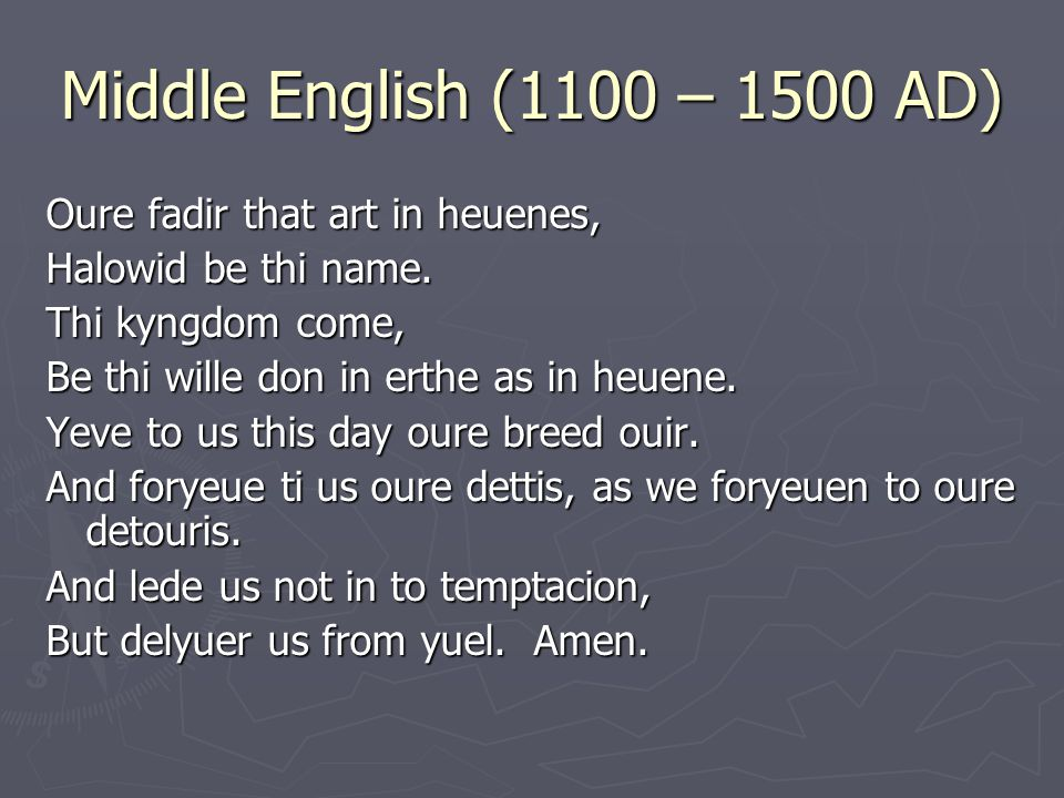 Middle English (1100 – 1500 AD) Oure fadir that art in heuenes,