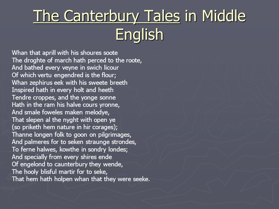 The Canterbury Tales in Middle English