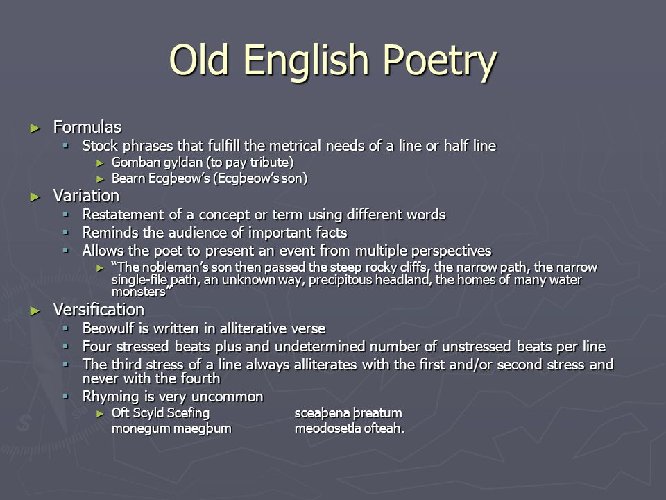 Old English Poetry Formulas Variation Versification
