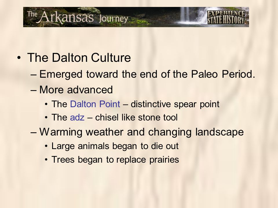 The Dalton Culture Emerged toward the end of the Paleo Period.