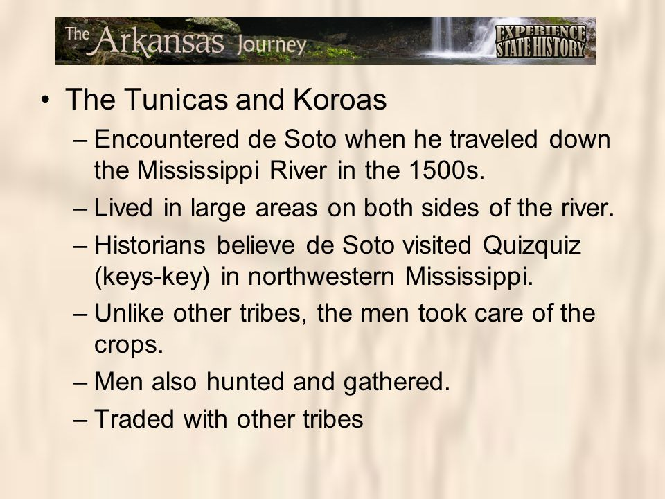 The Tunicas and Koroas Encountered de Soto when he traveled down the Mississippi River in the 1500s.