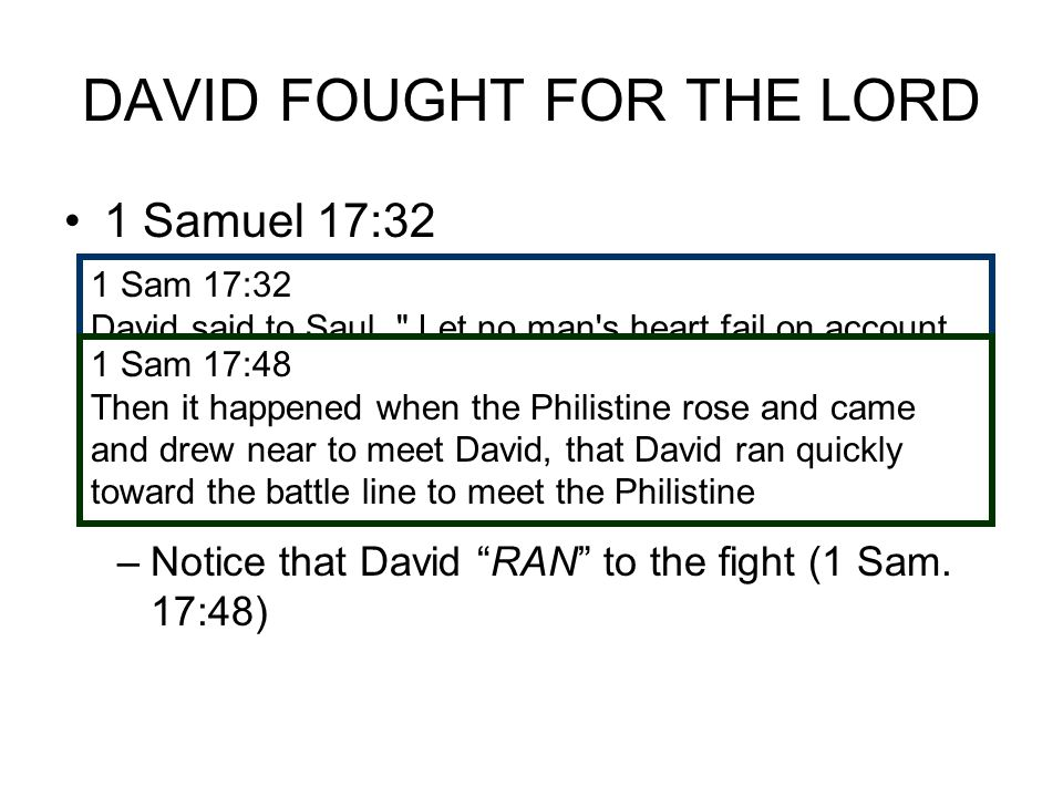 DAVID FOUGHT FOR THE LORD