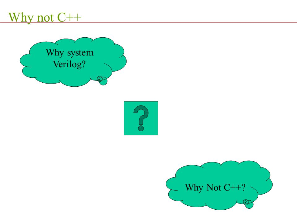 Why not C++ Why system Verilog Why Not C++