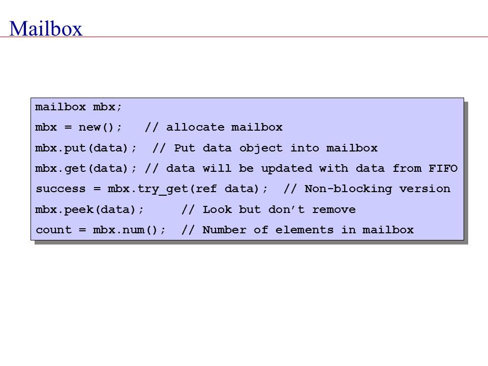 Mailbox mailbox mbx; mbx = new(); // allocate mailbox