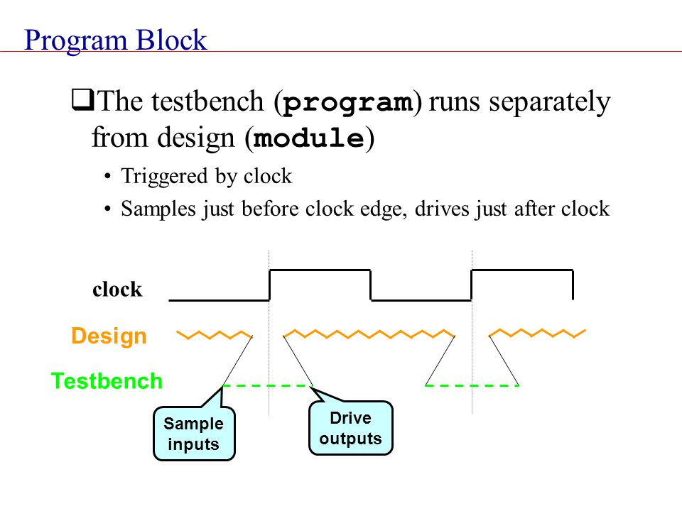 The testbench (program) runs separately from design (module)